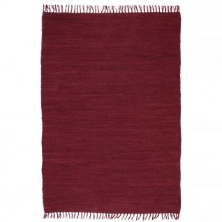 vidaXL Handgewebter Chindi-Teppich Baumwolle 80x160 cm Weinrot