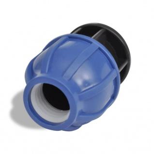 2 x PE Rohr Verschraubungen mit Endstopfen 20mm