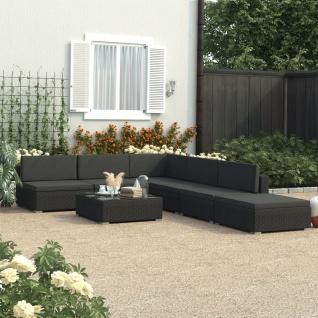 vidaXL 6-tlg. Garten-Lounge-Set Schwarz mit Auflagen Poly Rattan