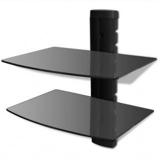 Wandregal aus Glas für DVD, 2 Ebenen, Schwarz
