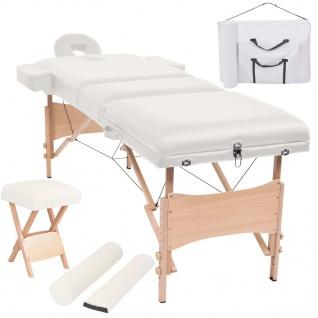 vidaXL Massageliege 3 Zonen Tragbar mit Hocker 10 cm Polsterung Weiß