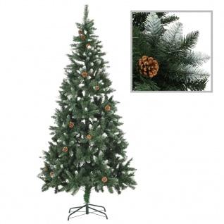 vidaXL Künstlicher Weihnachtsbaum Kiefernzapfen Weißem Glitzer 210 cm