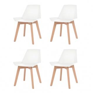 vidaXL Esszimmerstühle 4 Stk. Weiß Kunststoffsitz Buchenholzbeine