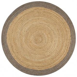 vidaXL Teppich Handgefertigt Jute mit Grauem Rand 120 cm