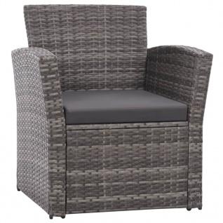 vidaXL 4-tlg. Garten-Lounge-Set mit Auflagen Poly Rattan Grau - Vorschau 3