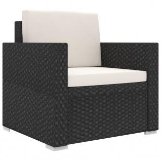 vidaXL 11-tlg. Garten-Lounge-Set mit Auflagen Poly Rattan Schwarz - Vorschau 4