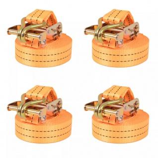 vidaXL Ratschen-Spanngurte 4 Stk. 1 Tonne 6m×38mm Orange
