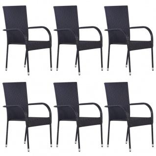 vidaXL Stapelbare Gartenstühle 6 Stk. Poly Rattan Schwarz