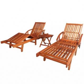 vidaXL Sonnenliegen 2 Stk. mit Tisch Akazie Massivholz