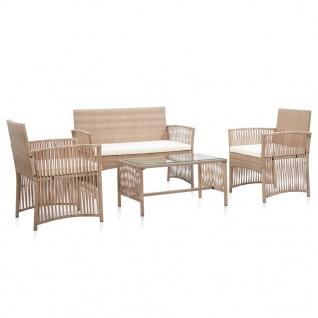vidaXL 4-tlg. Garten-Lounge-Set mit Auflage Poly Rattan Beige