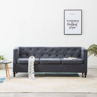 vidaXL 3-Sitzer Chesterfield-Sofa Stoffpolsterung Grau