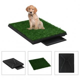 vidaXL Haustier-Toilette mit Tablett und Kunstrasen Grün 63x50x7cm WC