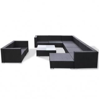 vidaXL 10-tlg. Garten-Lounge-Set mit Auflagen Poly Rattan Schwarz - Vorschau 5