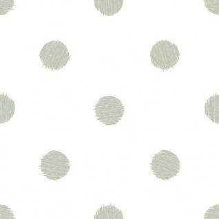 Esprit Kids 5 Tapete weiß mit Farbklecksen Punkten gelb rot grün blau 94134-1