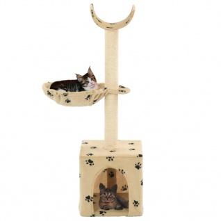 vidaXL Katzen-Kratzbaum mit Sisal-Säulen 105 cm Beige Pfoten-Aufdruck