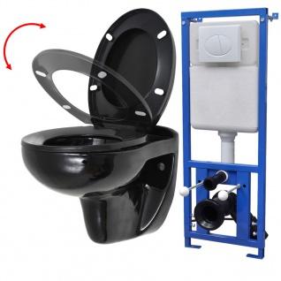 vidaXL Wand-WC mit Spülkasten und Soft-Close-Sitz Keramik Schwarz