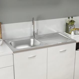 vidaXL Küchenspüle mit Abtropfset Silbern 1000x500x155 mm Edelstahl