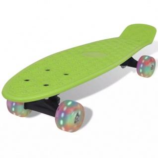 Skateboard, Grün Retro mit LED Rollen