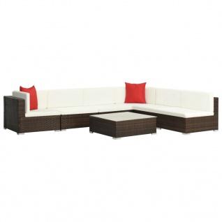 vidaXL 7-tlg. Garten-Lounge-Set mit Auflagen Poly Rattan Braun - Vorschau 2