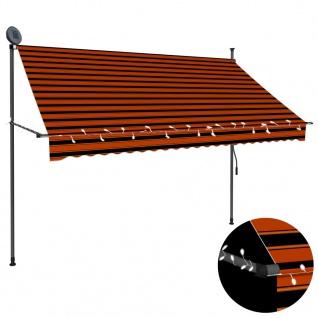vidaXL Einziehbare Markise Handbetrieben mit LED 250 cm Orange Braun