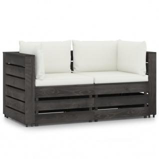 vidaXL 2-Sitzer-Gartensofa mit Kissen Grau Imprägniertes Holz