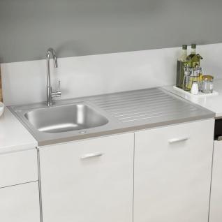 vidaXL Küchenspüle mit Abtropfset Silbern 1000x600x155 mm Edelstahl