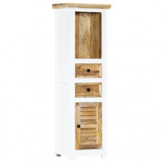 vidaXL Highboard Weiß und Braun 40x30x128 cm Raues Mango-Massivholz