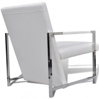vidaXL Sessel 2 Stk. Verchromtes Gestell Weiß Kunstleder - Vorschau 4