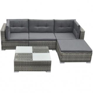vidaXL 5-tlg. Garten-Lounge-Set mit Auflagen Poly Rattan Grau - Vorschau 2