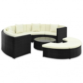 vidaXL 7-tlg. Garten-Lounge-Set mit Auflagen Poly Rattan Schwarz - Vorschau 1