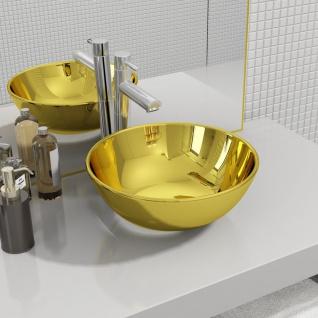 vidaXL Waschbecken 28 x 10 cm Keramik Golden