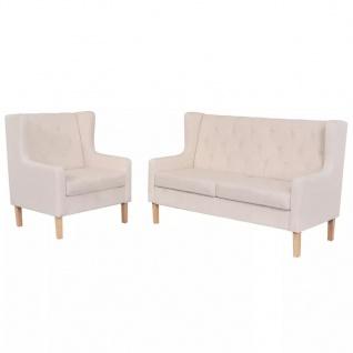 vidaXL Sofa-Set 2-tlg. Stoff Cremeweiß