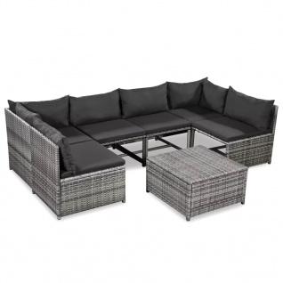 vidaXL 7-tlg. Garten-Lounge-Set mit Auflagen Poly Rattan Grau