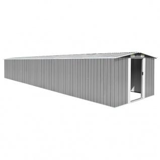 vidaXL Gerätehaus Grau 257x779x181 cm Verzinkter Stahl