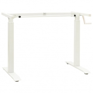 vidaXL Schreibtisch-Gestell Manuell Höhenverstellbar Handkurbel Weiß