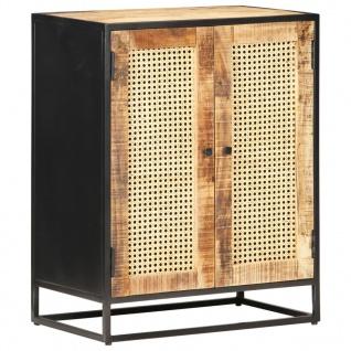 vidaXL Sideboard 60x35x75 cm Raues Mangoholz und Wiener Geflecht