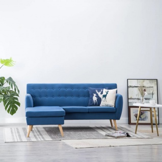 vidaXL Sofa in L-Form Stoffbezug 171, 5 x 138 x 81, 5 cm Blau