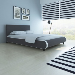 vidaXL Bett mit Matratze Kunstleder 140 x 200 cm Grau