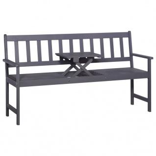 vidaXL 3-Sitzer Gartenbank mit Tisch 158 cm Massivholz Akazie Grau
