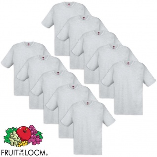 10 Fruit of the Loom Original T-Shirt 100% Baumwolle Grau M