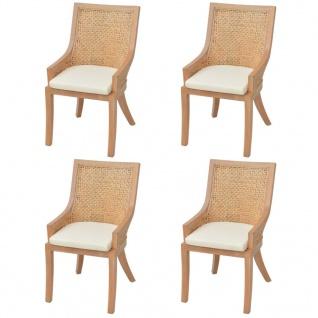 vidaXL Esszimmerstühle 4 Stk. Rattan und Mango Massivholz