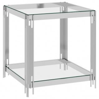 vidaXL Couchtisch Silbern 55x55x55 cm Edelstahl und Glas