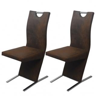 vidaXL Esszimmerstühle 2 stk Stoff Braun