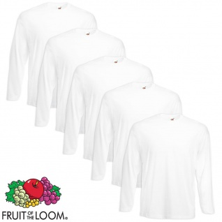 Fruit of the Loom Longsleeve Valueweight T-Shirt 5 Stk. Weiß XXL