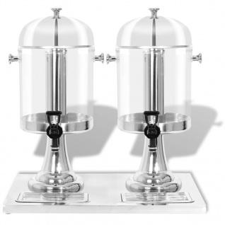 vidaXL Getränkespender 2-fach Edelstahl 2 x 8 Liter - Vorschau 3