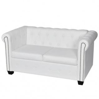 vidaXL Chesterfield Sofa 2-Sitzer Kunstleder Weiß