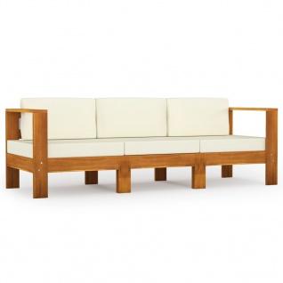 vidaXL 3-Sitzer-Gartensofa mit Cremeweißen Auflagen Massivholz Akazie