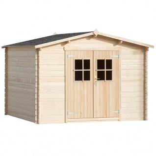 vidaXL 28 mm Gartenhaus Laube/Blockhütte 3x3 m Holz