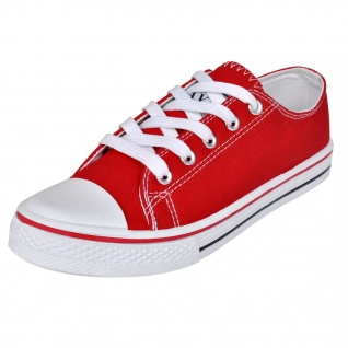 Klassischer Damen Low-top Lace-up Canvas Sneaker Rot Größe 37