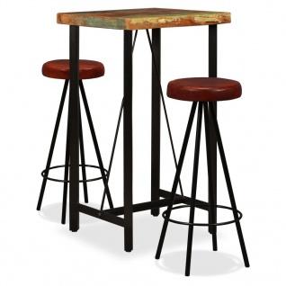 vidaXL Bar-Set 3-tlg. Massives Altholz und Echtleder